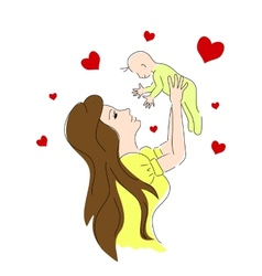 mother life color Small baby vector image