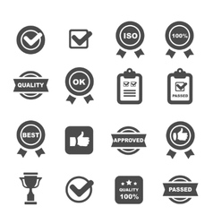 quality control icons set symbols vector image