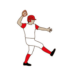 silhouette color with baseball pitcher vector image