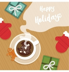 top view of Christmas celebration table with hot vector image vector image