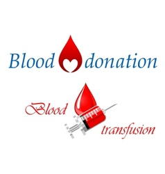 Blood donation and blood transfusion symbols vector image vector image