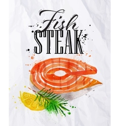 Fish steak watercolor vector image vector image