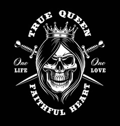 queen skull vector image