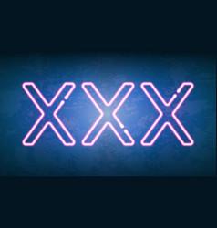 xxx glowing neon light street sign vector image vector image