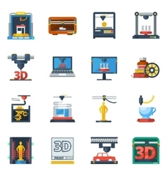 3D Printing Flat Icons Collection vector image