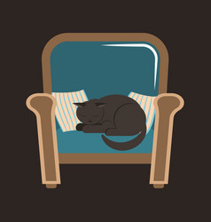A gray house cat sleeps on an armchair between the vector