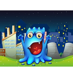 A happy blue monster in the city vector
