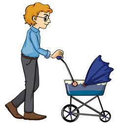 A man and baby pram vector