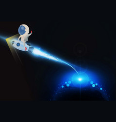 Abstract astronaut sitting rocket light out vector