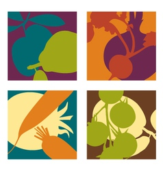 Abstract vegetable designs set 2 vector