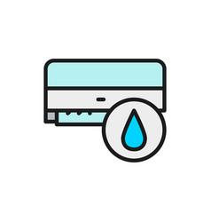 Air conditioner washing humidification flat vector