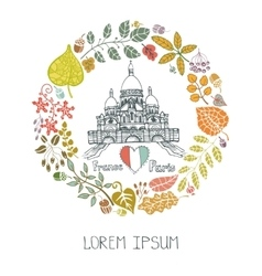 Autumn in ParisLeaves wreath and Sacre Coeur vector image