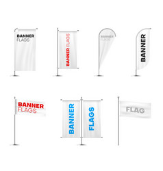 banners flags on poles variety realistic mockups vector image