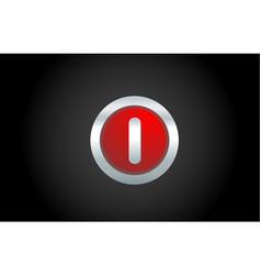 black background red metal i alphabet letter vector image