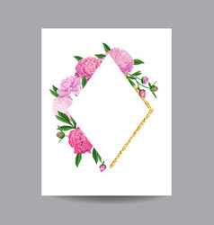 Blooming spring and summer floral golden frame vector