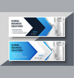 Blue arrow style corporate presentation banner vector