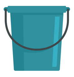 Blue bucket icon flat style vector