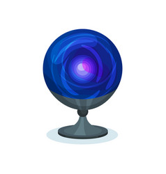blue magic ball crystal sphere on gray stand vector image