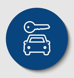 car key simplistic sign white contour vector image