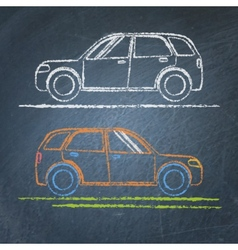 Car sketch on chalkboard vector