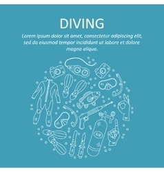card with diving equipment vector image