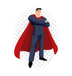cartoon of a super businessman vector image