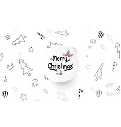 christmas elements freehand drawn cartoons doodle vector image