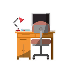 colorful graphic of desk home with chair and lamp vector image
