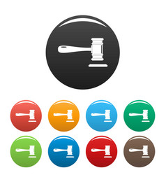 court icons set color vector image