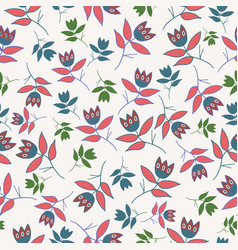 cream winter folk florals seamless pattern vector image