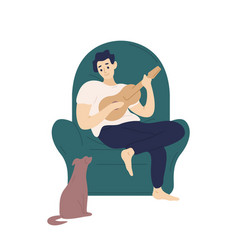 Cute boy sitting in comfy armchair and playing vector