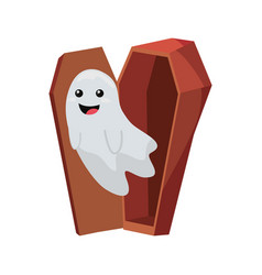 Cute ghost coming out coffin halloween party vector