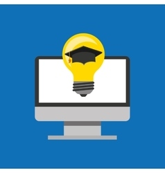 Education online global idea cap graduated vector