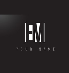 Em letter logo with black and white negative vector