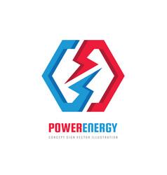 energy power logo design hexagon vector image