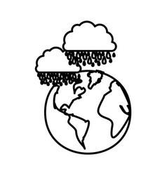 Figure earth planet with clouds rainning icon vector