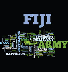 Fiji army text background word cloud concept vector