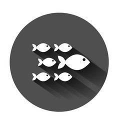 fish sign icon in flat style goldfish on black vector image