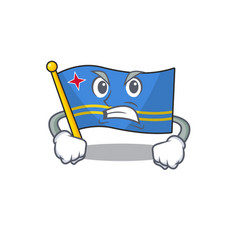 Flag aruba smiling in with cartoon angry vector