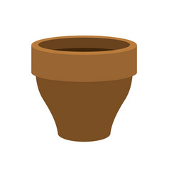 flower pot empty isolated brown clay flowerpot on vector image