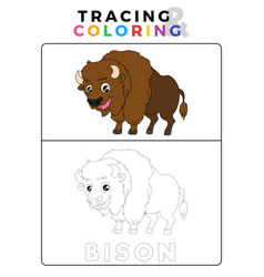 Funny bison tracing and coloring book with vector