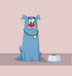 funny dog with tongue out craving for food cartoon vector image