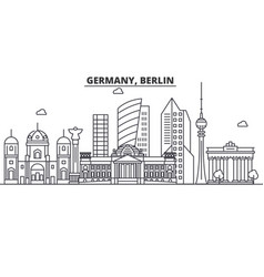 Germany berlin architecture line skyline vector