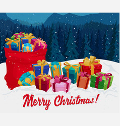 gift boxes on the snow christmas greeting card vector image