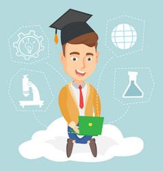 graduate sitting on cloud vector image