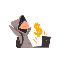 Hacker in black mask stealing money using laptop vector