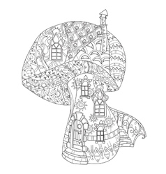 hand drawn doodle outline magic mushrooms vector image