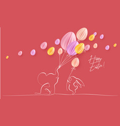 happy easter cute little elephant with balloons vector image