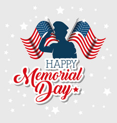 happy memorial day celebration card with soldier vector image