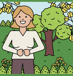 happy young woman in landscape vector image